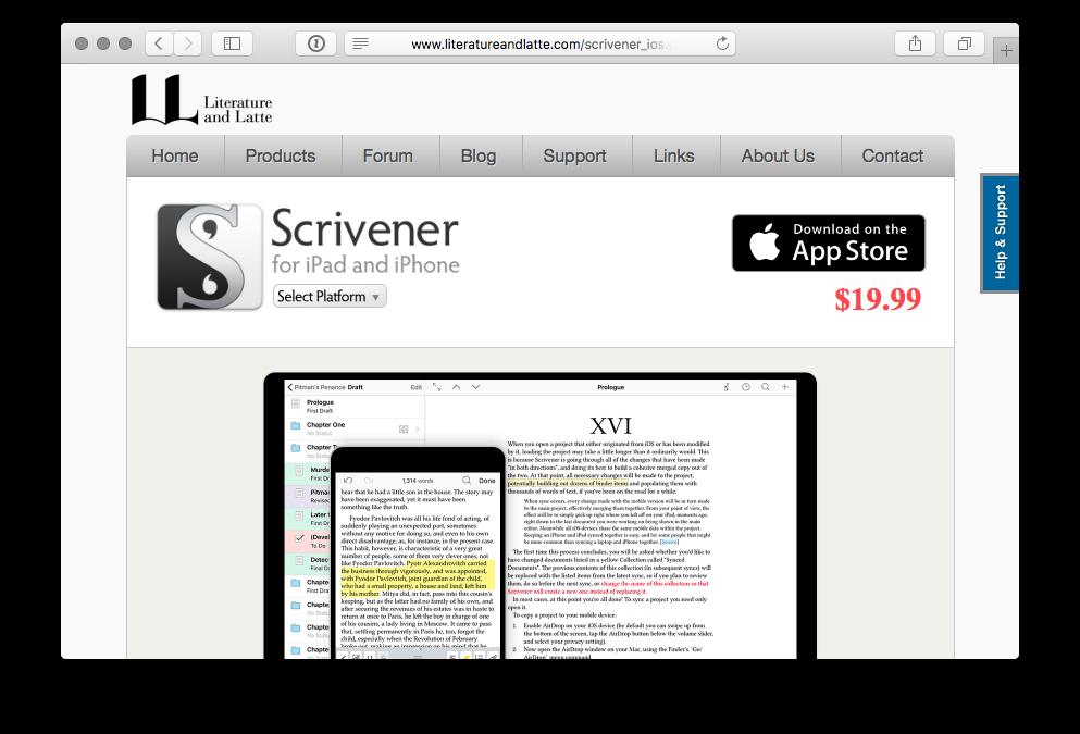 Scrivener dla iOS