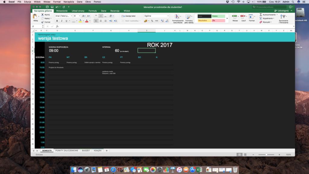 Kalendarz w Microsoft Excel