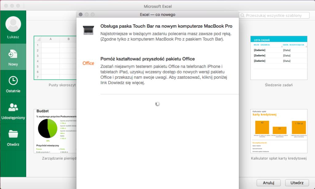 Okno Excel z informacjąo wsparcia Touch Bar w Office