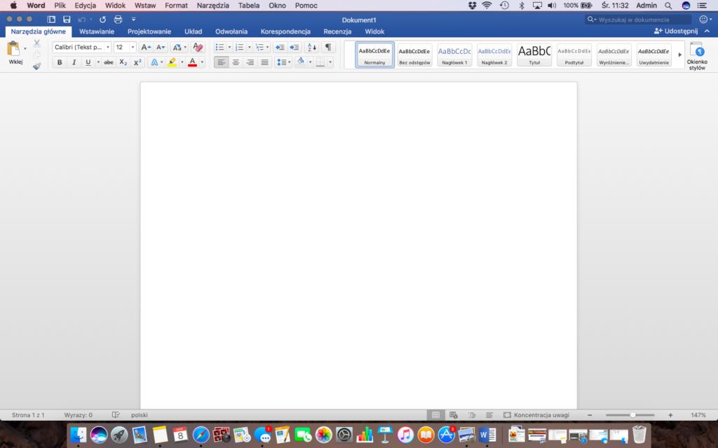 Nowy, pusty dokument w Microsoft Word