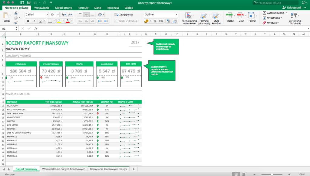 Roczny raport finansowy w Microsoft Excel