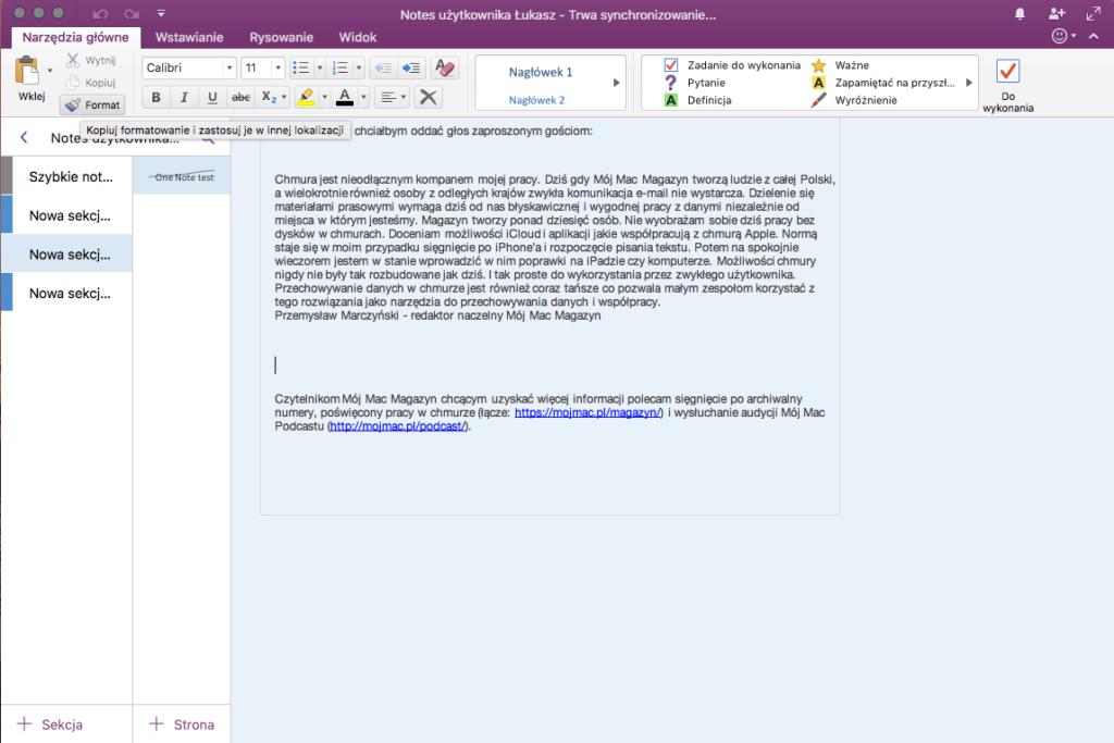 Okno Microsoft One Note