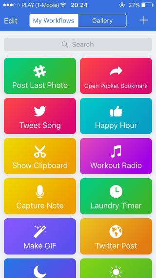 Workflow ekran główny