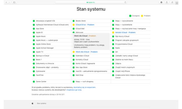 Problemy z usługami iCloud oraz deweloperskimi