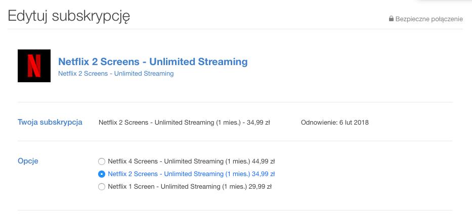 Ceny Netflix w App Store i iTunes