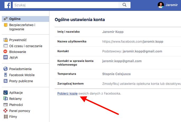 Pobieramy kopię swoich danych z Facebooka 2