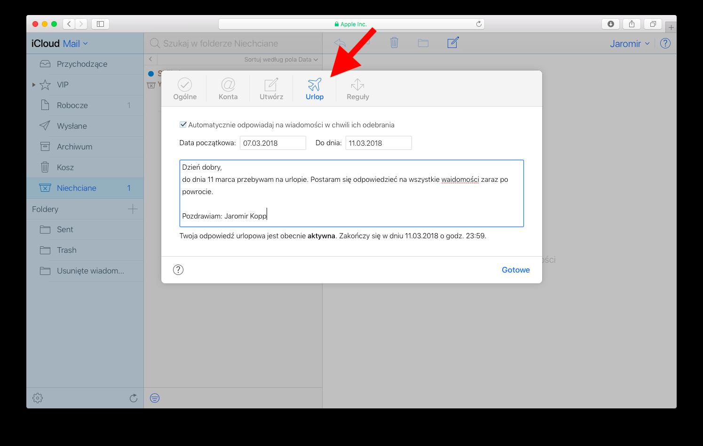 Urlop z pocztą w iCloud 3