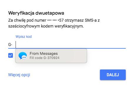 Kod SMS z Google