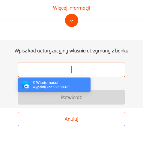 Kod SMS z ING Bank Śląski