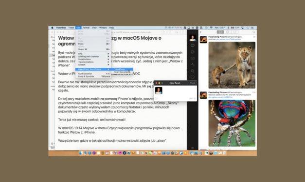 Wstaw z iPhone, drobiazg w macOS Mojave o ogromnej użyteczności