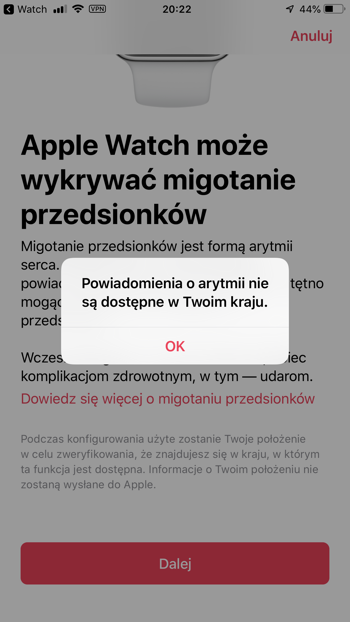 watchOS 5.1.2 wykrywanie arytmii niedostepne w Polsce